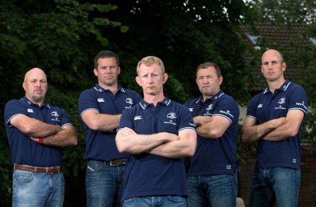 Leo Cullen with his coaching team of Kurt McQuilkin, John Fogarty, Richie Murphy and Girvan Dempsey