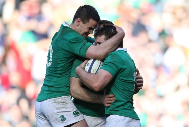 Jared Payne celebrates his try with Tommy Bowe and Jonathan Sexton