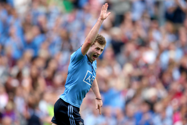 Jack McCaffrey celebrates scoring a goal