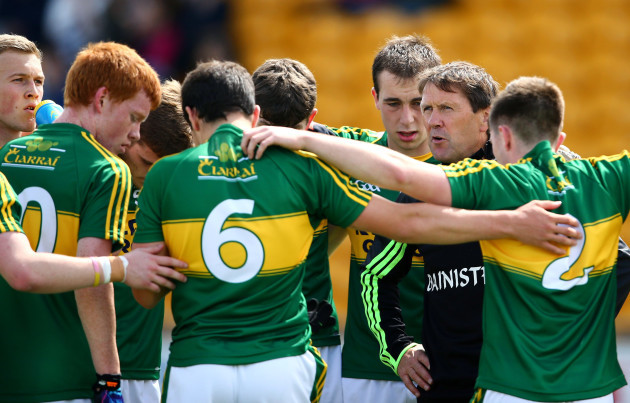 Kerry manager Jack O'Connor with his players before the Sligo game.