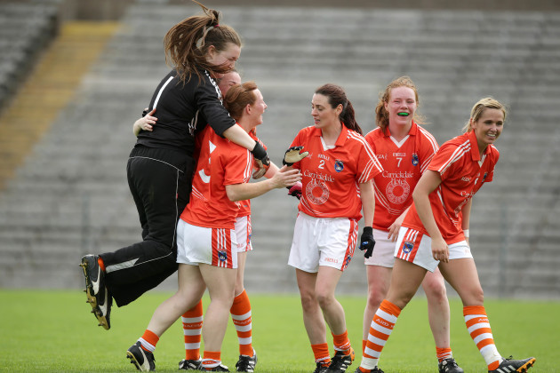 Armagh players celebrate the final whistle