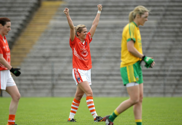 Sinead McCleary celebrates the final whistle
