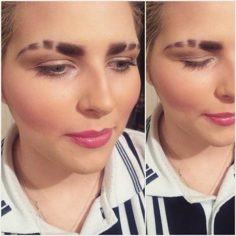 Makeup and brow slits by me. @stebbzz #pink #blush #contour #brows #browslits #eyebrowslits #cosmetics #beauty #highlight #makeuprevolution #revolutionmakeup #illamasqua #mac #maccosmetics #sleek #sleekmakeup #smashbox #smashboxcosmetics #bblogs #bbloggers #bbloggersuk #mua #motd #shuuemura
