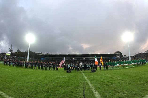 USA and Ireland teams line up for the national anthem