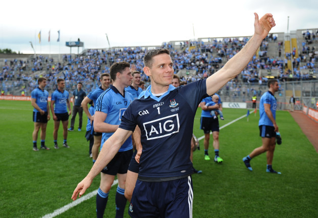 Stephen Cluxton salutes the fans after the game