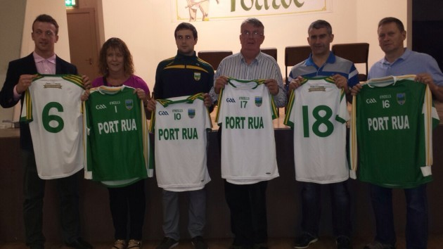 a971af542eabf Seamus Hennessy (far left) and Liam Sheedy (second from right) present at  the launch of Portroe s new jerseys with club representatives.