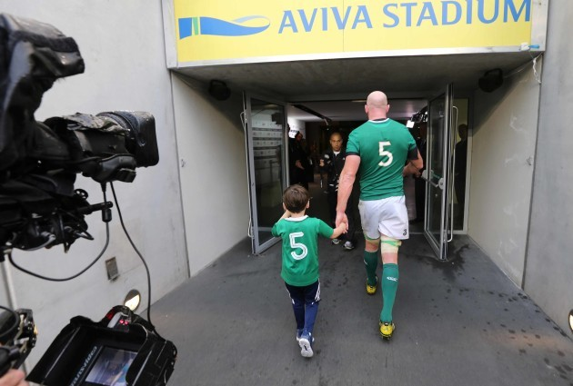 Paul O'Connell with his son Paddy after the game