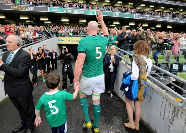 Paul O'Connell with his son Paddy and wife Emily after the game