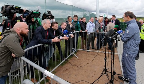 Martin O'Neill speaking to the media after training