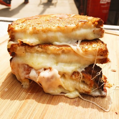 Not on Leather Lane today! Tube strikes/ traffic jams have got the better of us. But here's a melted cheese shot, something to look forward to tomorrow.