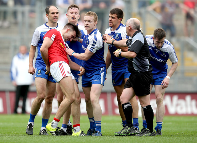 Tiernan McCann surrounded by Monaghan players