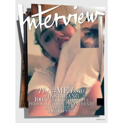 @mileycyrus facetimes with @mertalas for one of our eight September covers #InterviewGang @fabienbaron
