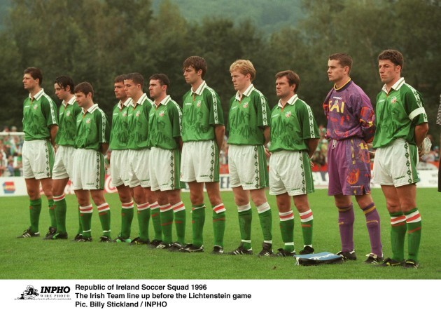 Team line up Republic of Ireland Soccer Squad 1996