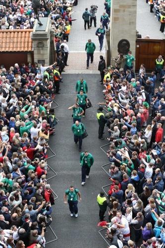 The Ireland team arrive