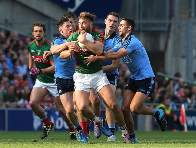 Aidan O'Shea bursts through the Dublin defence