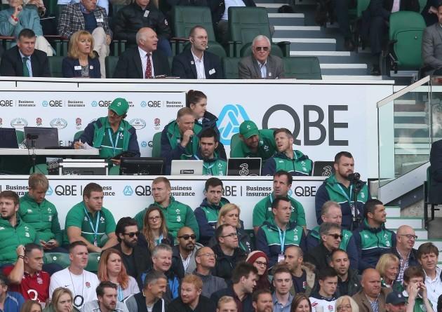 IrelandÕs management team look on with Joe Schmidt