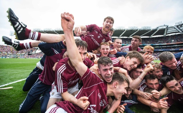 Galway players celebrate after the game