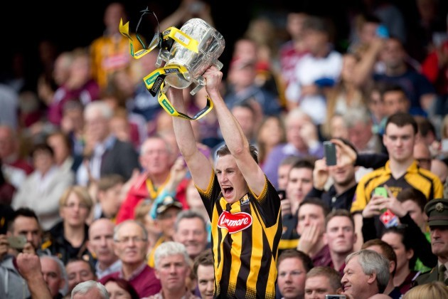 Joey Holden raises the Liam McCarthy cup