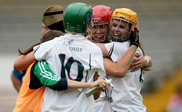 Kildare players celebrate at the final whistle