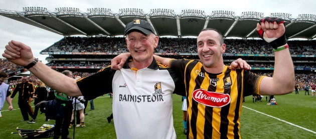 Brian Cody celebrates with Eoin Larkin