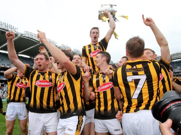Joey Holden celebrates with the Liam McCarthy Cup