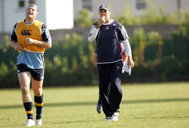 Michael Cheika shares a joke with Jamie Heaslip