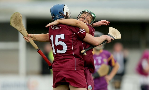 Molly Dunne and Ailish O'Reilly celebrate at the final whistle