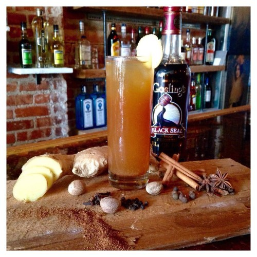 Our dark & stormy, The #Shacklebolt. House infused spiced rum using Gosling.