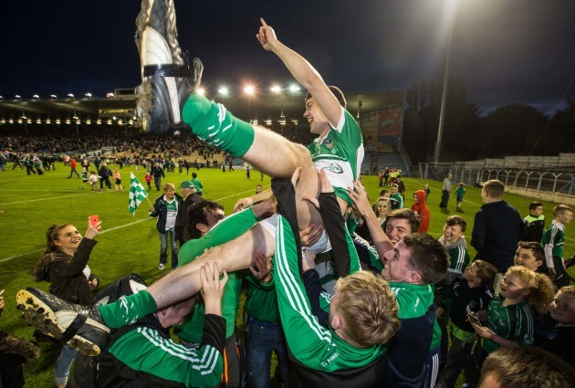 Limerick supporters celebrate with goalkeeper David McCarthy