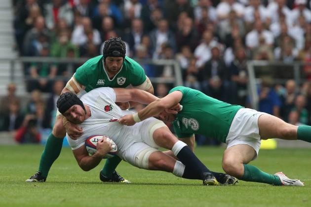 Ben Morgan is tackled by Sean OÕBrien