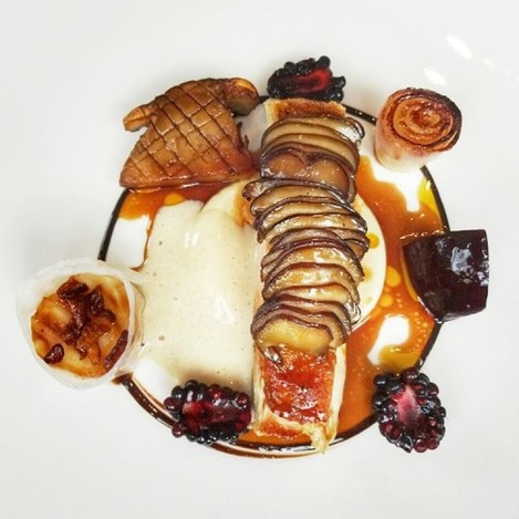 Roast guinea fowl, root vegetables, cep cream, blackberries (topped with criossant velouté and on tge left is divine roast celeriac wrapped in lardo and topped with crispy onions). Gorgeous. Main course at The Greenhouse in Dublin from the €34 3 course lunch menu. Dubliners, if you have not been, GO.