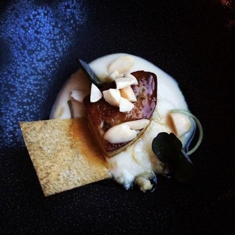 Duck foie gras with cauliflower purée, meatball ryme nuts & celeriac snap