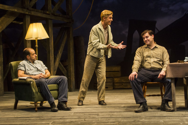 Scott Aiello, Peter Coonan and Joey Phillips in A View From The Bridge by Arthur Miller at The Gate Theatre. Photo by Pat Redmond.