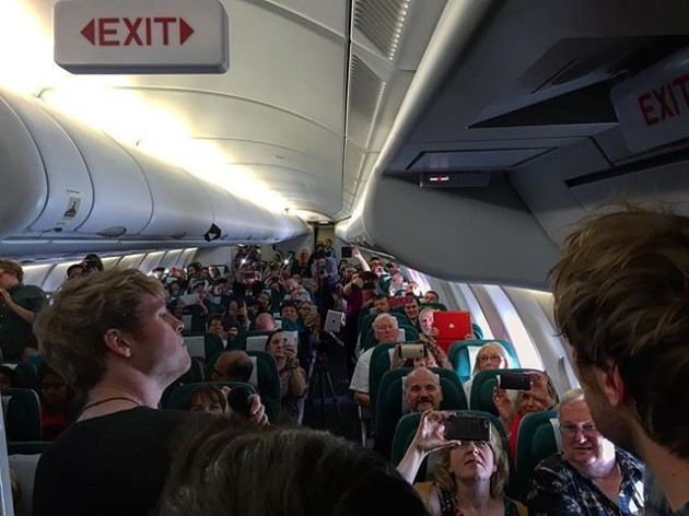 Busk on a plane