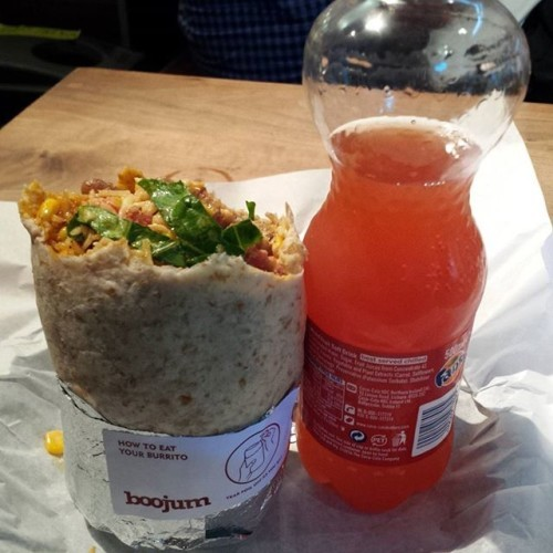 Chirizo and pork burrito. Mexican rice and pinto beans. Tomato salsa with sour cream and cheese + lettuce and corn. #HowDidItFit #Burrito #Boojum