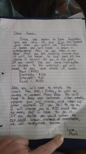 This Mum S Letter Putting Her Entitled Teenage Son In His Place Is