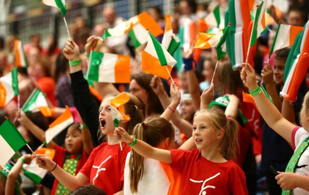 Ireland supporters cheering on the team
