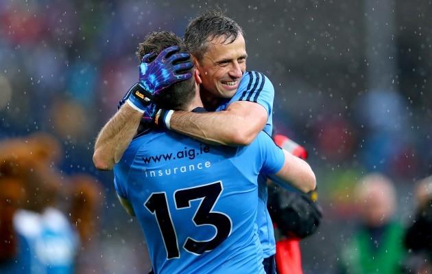 Paddy Andrews and Alan Brogan celebrate