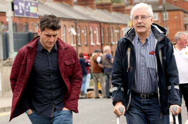 Bernard Brogan and his father Bernard snr arrive for the game