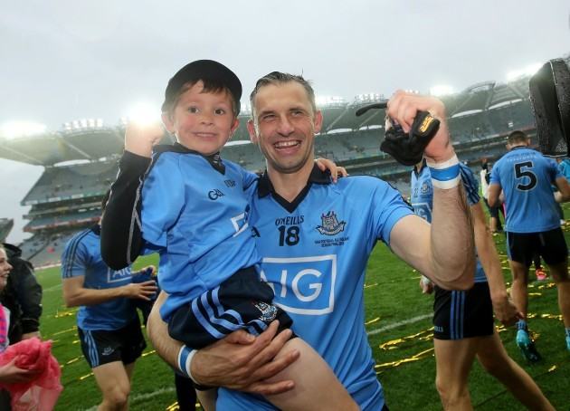 Alan Brogan celebrates with his son Jamie