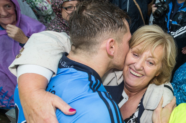 Paul Flynn celebrates with his mother Helena after the game