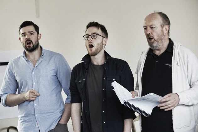 (L-R) Chorus members Ger Kelly, Shane O'Reilly and Pat Nolan rehearse Oe...
