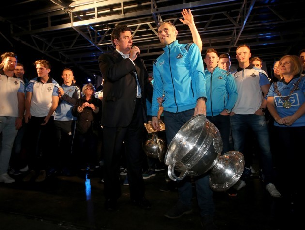 Alan Brogan with the Sam Maguire Trophy speaks to Des Cahill