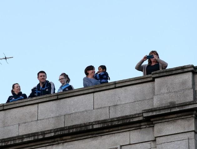 Dublin fans look down onto O'Connell Street