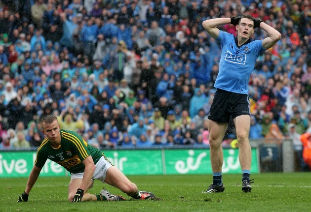 Brian Fenton reacts after hitting the post