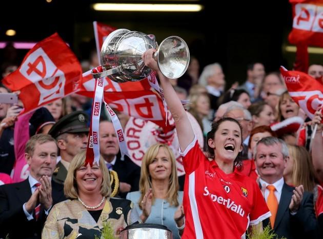 Ciara O'Sullivan lifts the Brendan Martin Cup