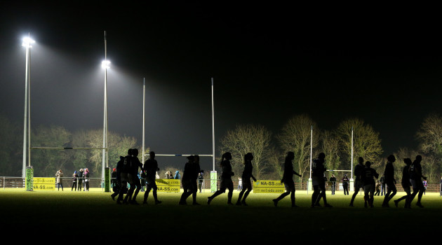 The teams are in the dark as the lights won't work at the start of the second half
