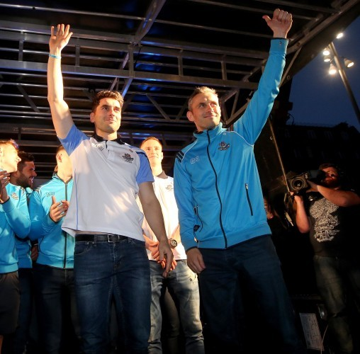 Bernard Brogan and Alan Brogan are introduced to the crowd