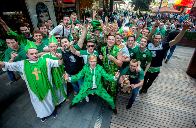 Ireland fans make there way through the Westfield Shopping Centre outside the Olympic Stadium