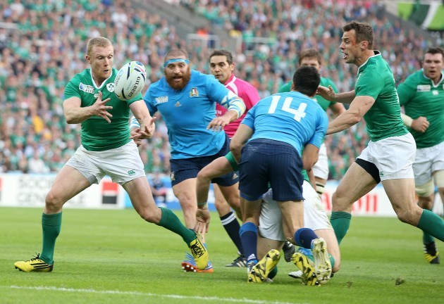 Robbie Henshaw offloads to Keith Earls
